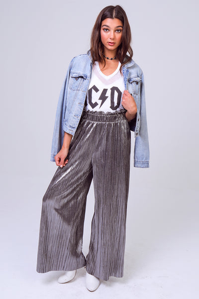 Pleated Paper-Bag Waist Bodre Palazzo Pants in Silver/Black
