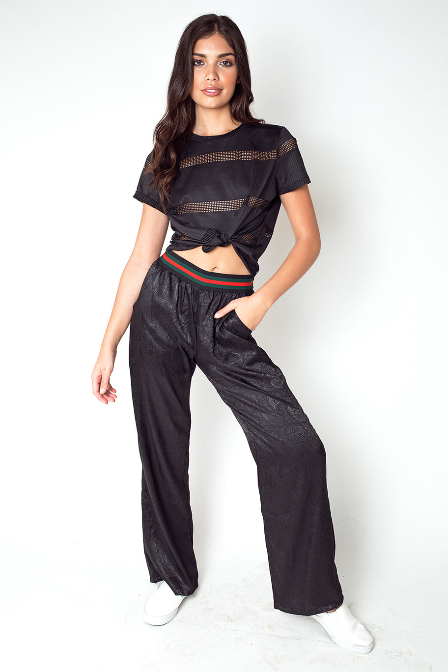 Stripped Palazzo Sweatpants in Black
