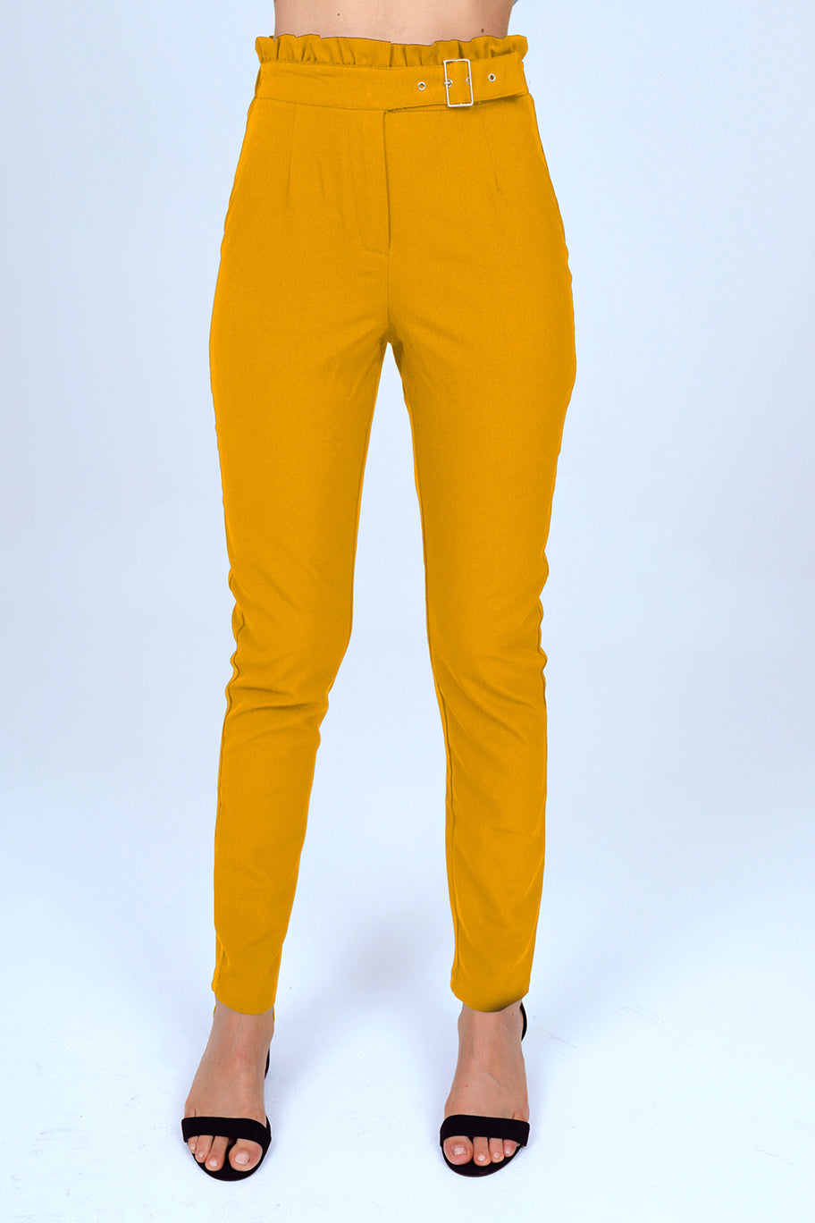 Slim Straight Dress Pant with Buckle in Mustard Yellow