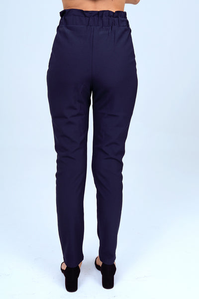 Slim Straight Dress Pant with Buckle in Navy