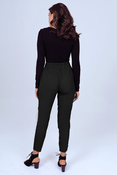 Tapered Leg Dress Pant with Buckle in Black