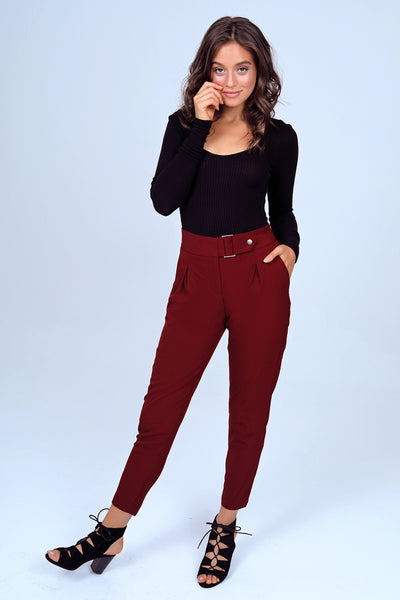 Tapered Leg Dress Pant with Buckle in Burgundy