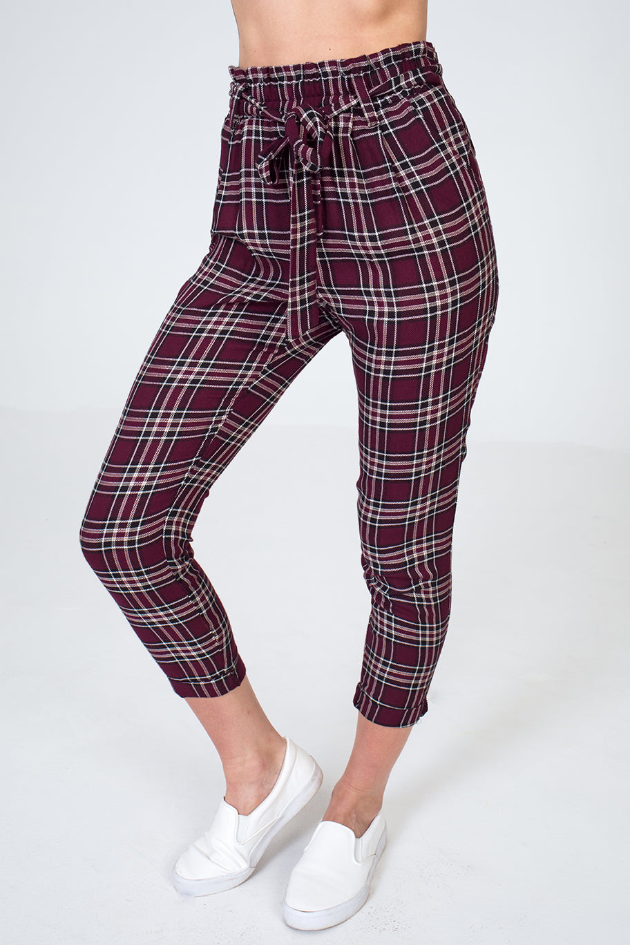 Plaid Self Belted Paper-Bag Waist Flannel Tapered Pants in Burgundy