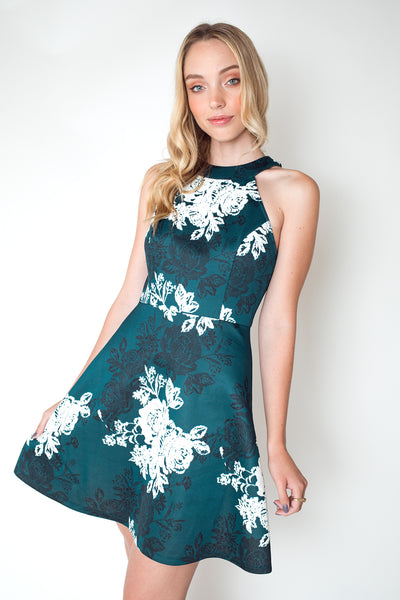 Halter Neck Floral Print Dress in Hunter Green
