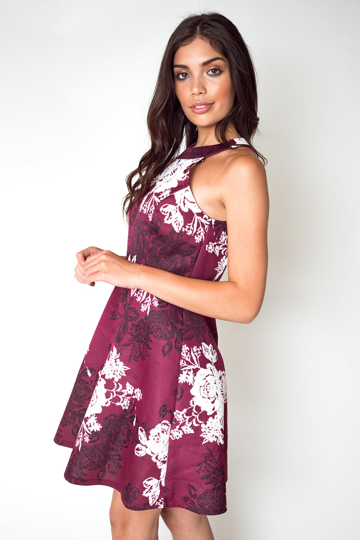 Halter Neck Floral Print Dress in Plum