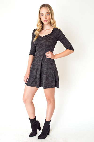 Three-Quarter Sleeve Swing Dress in Charcoal