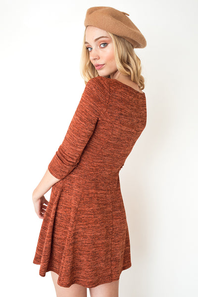 Three-Quarter Sleeve Swing Dress in Pumpkin Orange