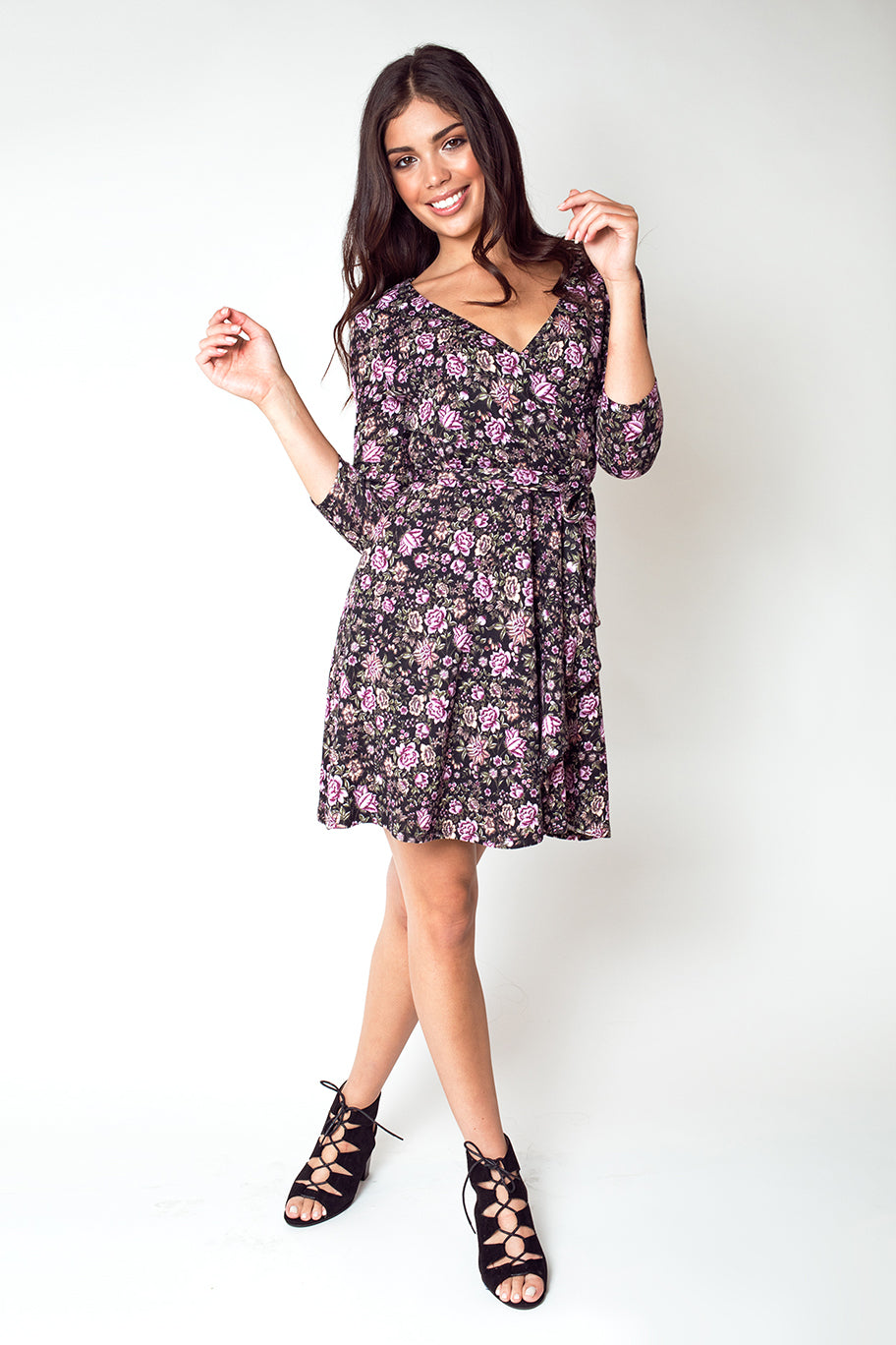 Three-Quarter Sleeve V Neck Swing Dress in Black Rose