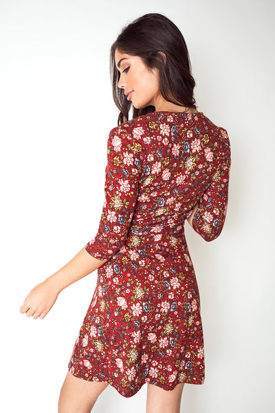 Three-Quarter Sleeve V Neck Swing Dress in Brick Red Floral