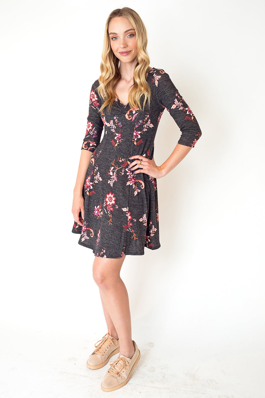 Three-Quarter Sleeve Swing Dress in Floral Charcoal
