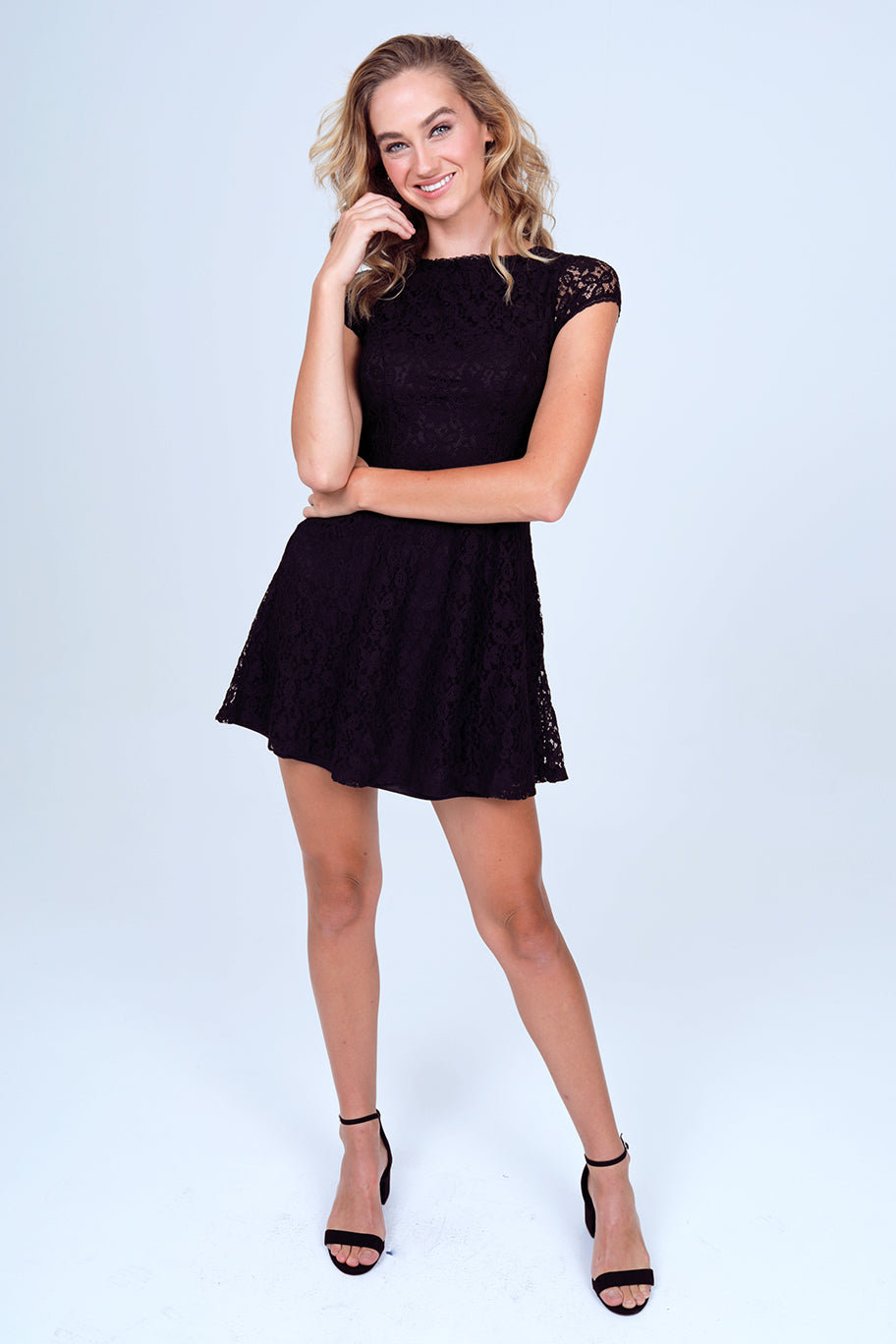 Short Sleeve Lace Swing Dress in Black