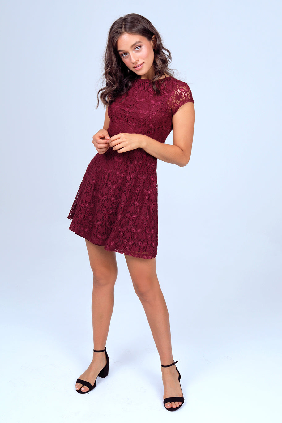 Short Sleeve Lace Swing Dress in Wine