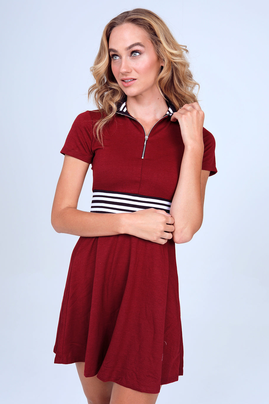 Quarter Zip French Terry Dress in Cranberrry