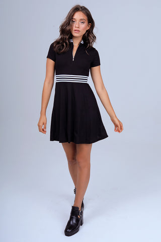 Quarter Zip French Terry Dress in Black