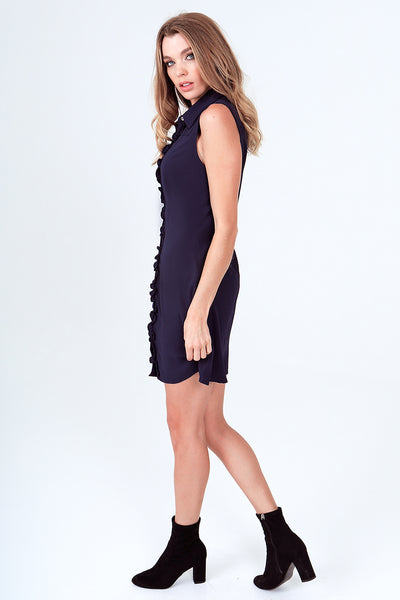 Fitted Sleeveless Ruffled Snap Front Shirt-Dress - Navy