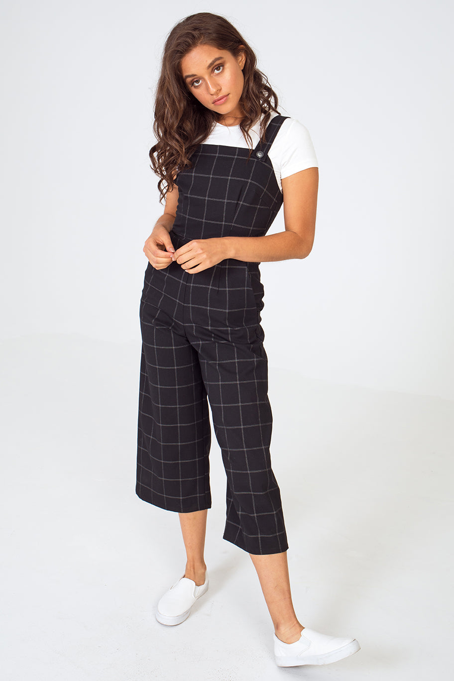 Windowpane Plaid Utility Overall Jumpsuit in Black/White