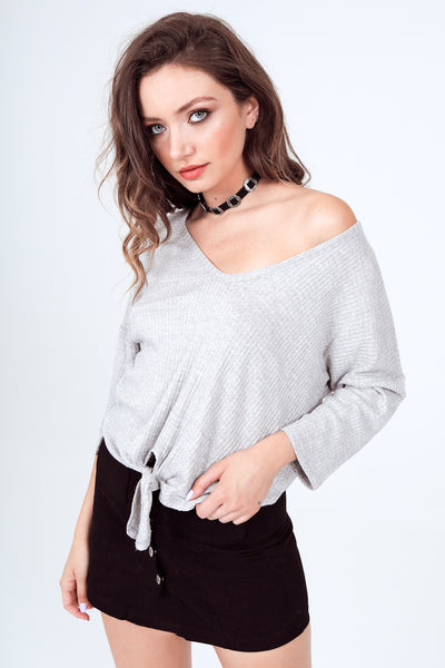 Gypsies & Moondust Princess Sleeve Thermal Tie Front Top in Oatmeal
