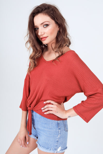 Gypsies & Moondust BRICK WAFFLE FRONT TIE Long Sleeve TOP