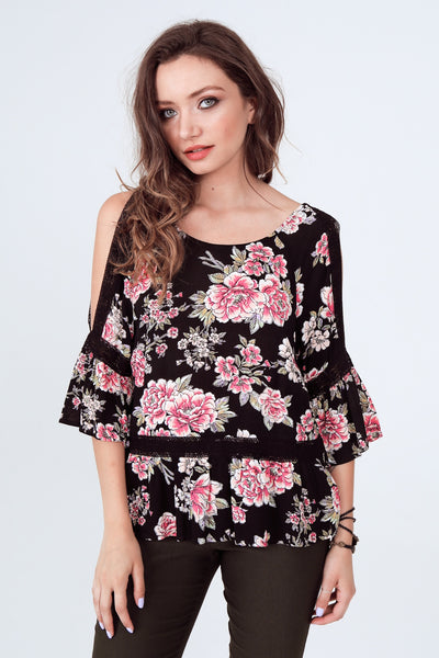 Gypsies & Moondust Slit Sleeve Floral Rayon Gauze Tunic Top