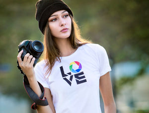 "Tribal Moda ""Love Photography"" T shirt worn by Tribalmoda model and photographer. Colorful camera aperture symbol on quality women's tshirt."