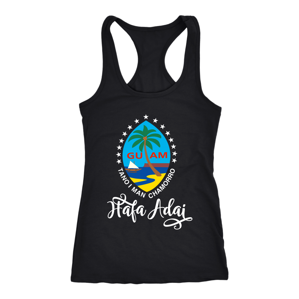 """Hafa Adai"" Guam Color Seal with Stars Racerback Tank"