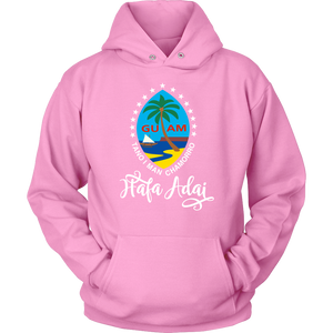"""Hafa Adai"" with Colorful Guam Seal and Stars hoodie"