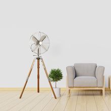 "Load image into Gallery viewer, Satin Nickel Star Tripod 16"" Stand Fan- AVAILABLE 11/03"