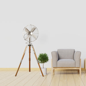 "Satin Nickel Star Tripod 16"" Stand Fan"