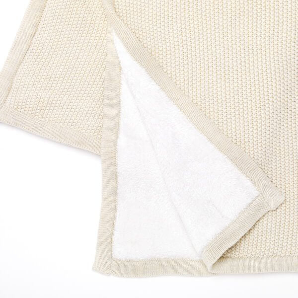 ORGANIC KNITTED FLEECE BABY BLANKET (Linen, Dove Grey or Midnight)