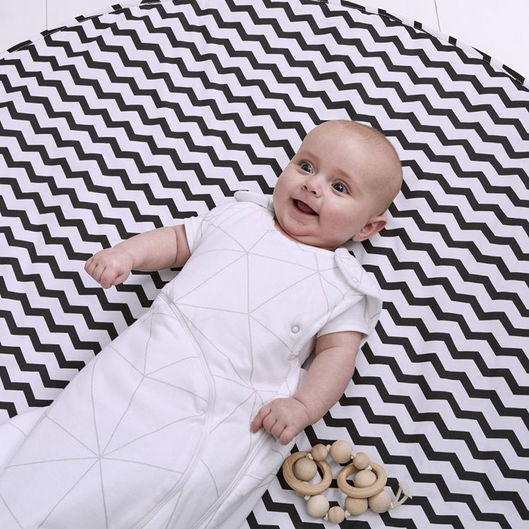 Baby Playmat - Black Chevron Striped