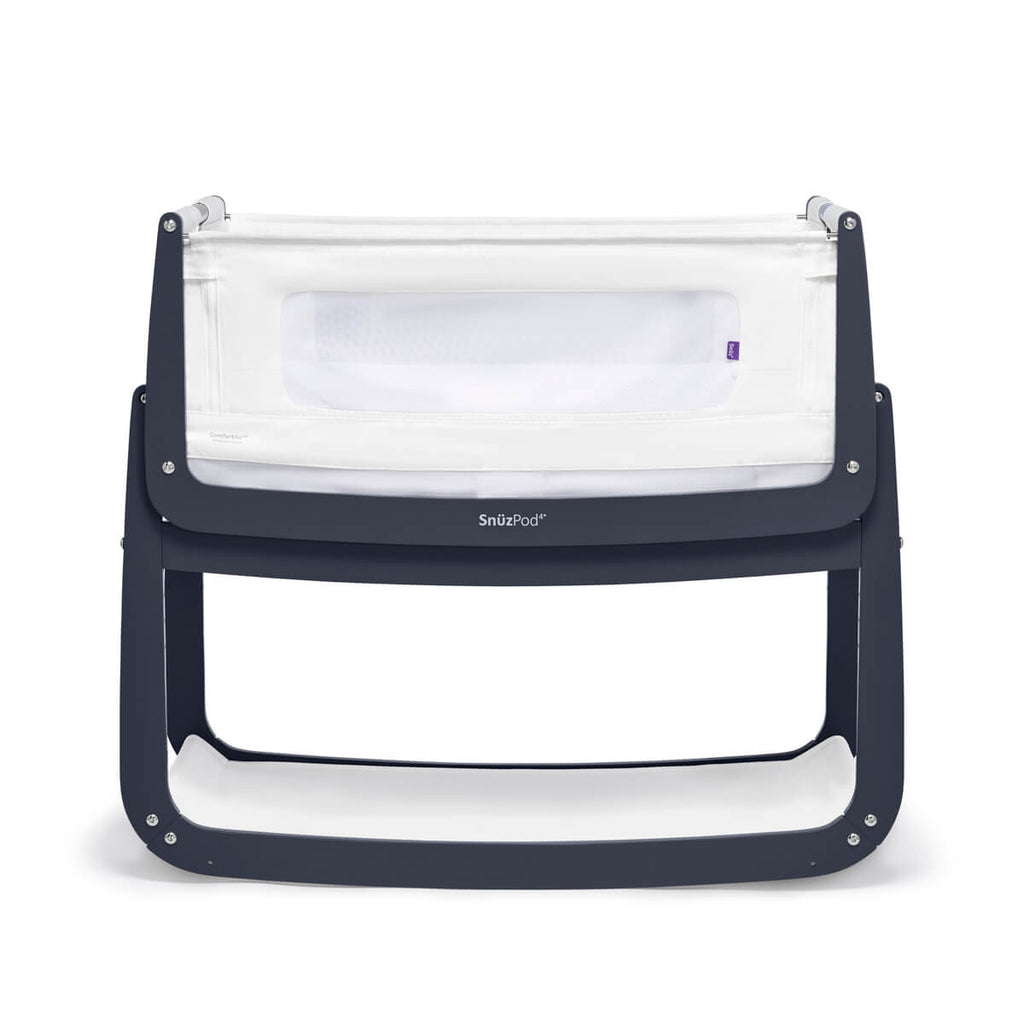 SnuzPod 4 Bedside Crib - Navy - Mattress Included