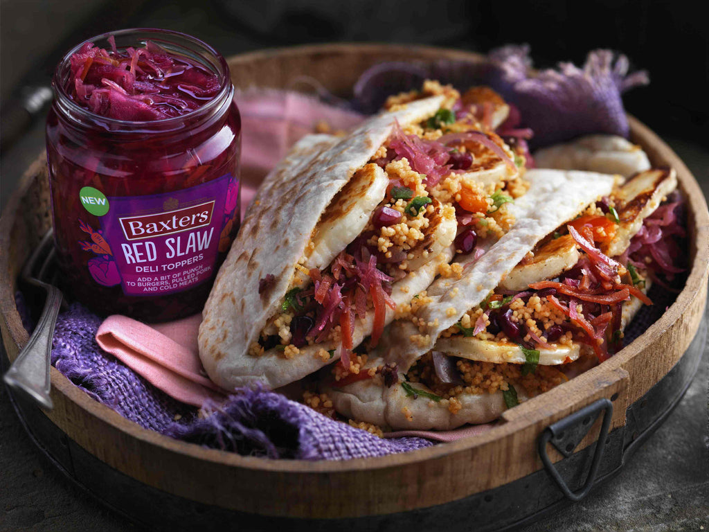 Baxters Deli Toppers - Mediterranean Halloumi Pitta with Harissa & Lemon Cous Cous Recipe