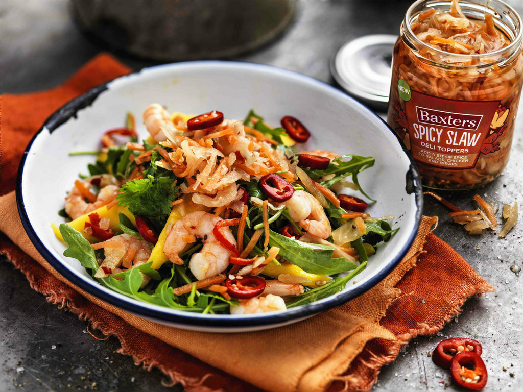 Baxters Deli Toppers - Warm King Prawns and Mango Salad Recipe