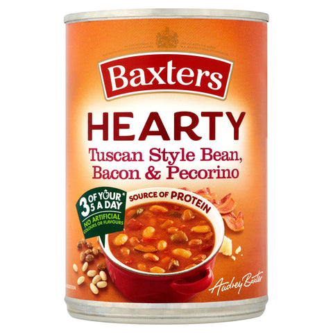 Baxters Hearty Tuscan Style Bean, Bacon & Pecorino Soup 400g