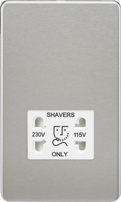 Screwless 115V/230V Dual Voltage Shaver Socket - Polished Brass with White Insert