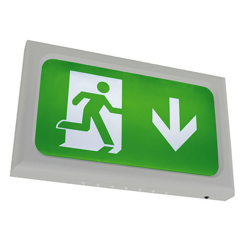 Encore Slimline LED Silver Grey Body Exit Sign c/w Legend Kit