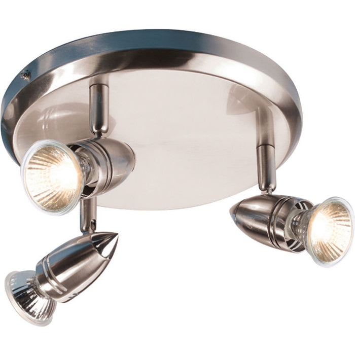 3 x 50 Watt GU10 Circular Brushed Chrome Triple Spot Light - Steel City Lighting