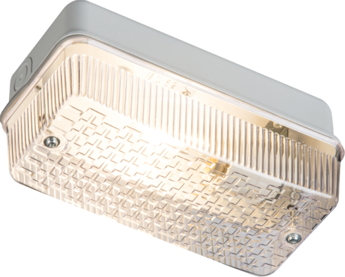 230V IP65 100W (BC) B22 Bulkhead with Clear Prismatic Diffuser and Aluminium Base - Steel City Lighting