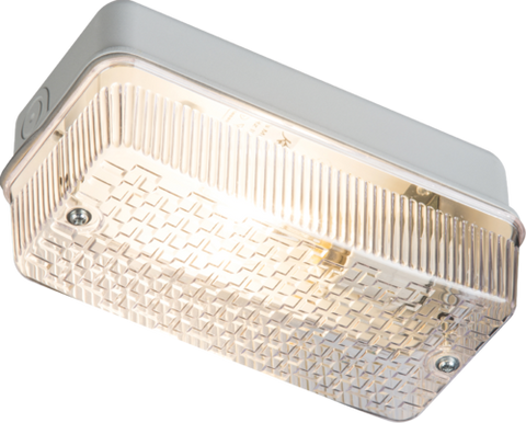 230V IP65 100W (BC) B22 Bulkhead with Clear Prismatic Diffuser and Aluminium Base