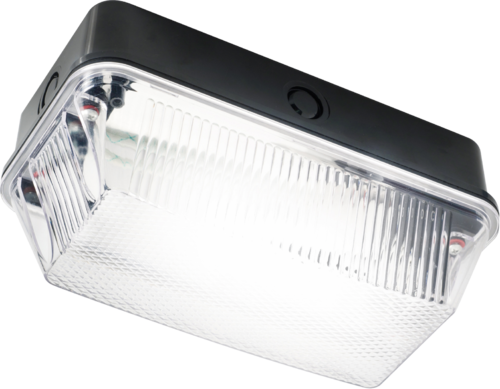 230V IP65 60W B22 Bulkhead with Clear Prismatic Diffuser and Black Plastic Base - Steel City Lighting