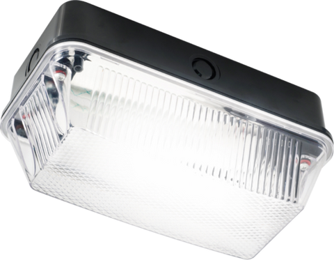230V IP65 60W B22 Bulkhead with Clear Prismatic Diffuser and Black Plastic Base