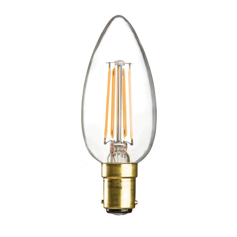4 Watt 35mm 3000K LED Candle Lamp - Small Bayonet Cap (B15d), Clear Finish