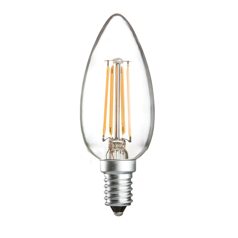 4 Watt 35mm 3000K LED Candle Lamp - Small Edison Screw Cap (E14), Clear Finish