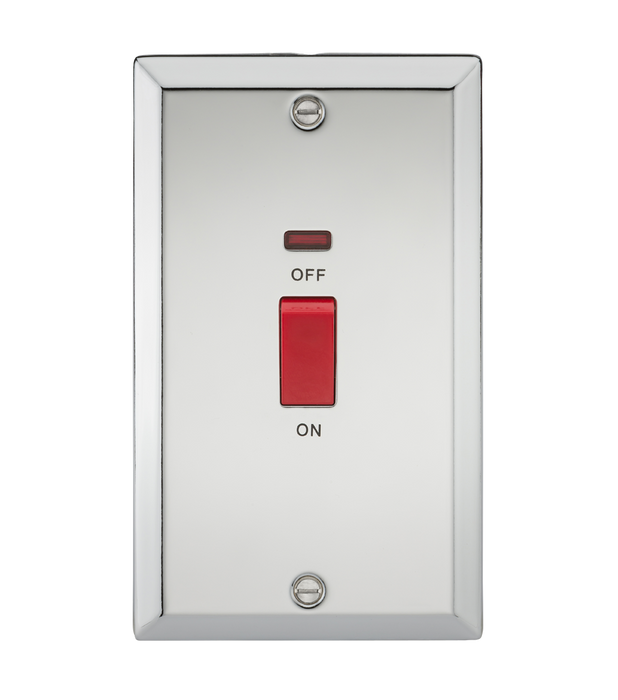 45A DP Switch with Neon (double size) - Bevelled Edge Polished Chrome