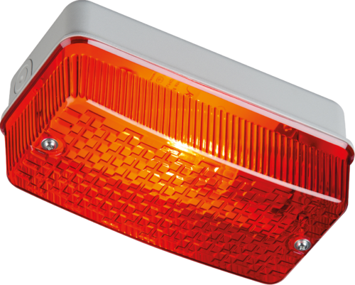 230V IP65 100W max E27 Bulkhead with Red Prismatic Diffuser and Aluminium Base - Steel City Lighting