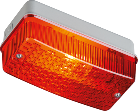 230V IP65 100W max E27 Bulkhead with Red Prismatic Diffuser and Aluminium Base