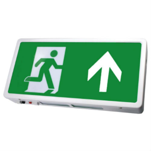 Maintained LED Exit Sign c/w Arrow Up Legend - Steel City Lighting