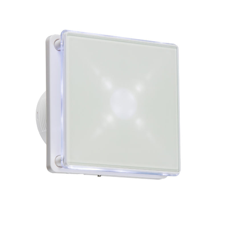 LED Back Lit Extractor Fan With Overrun Timer - WHITE