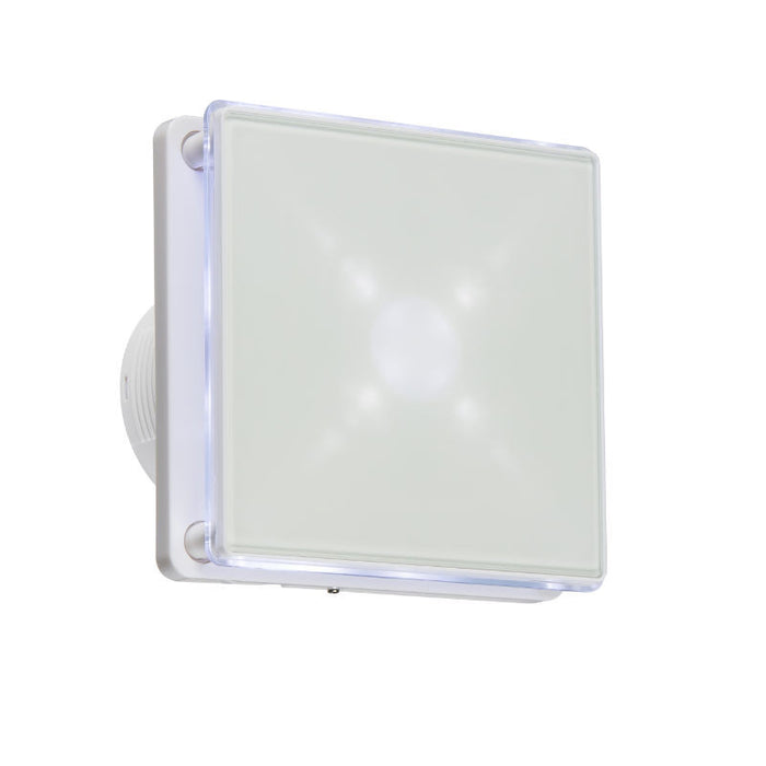 LED Back Lit Extractor Fan With Overrun Timer - WHITE - Steel City Lighting
