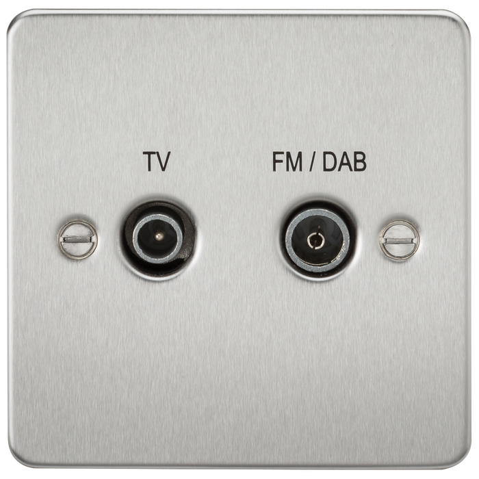 Flat Plate Screened Diplex Outlet (TV & FM DAB) - Brushed Chrome